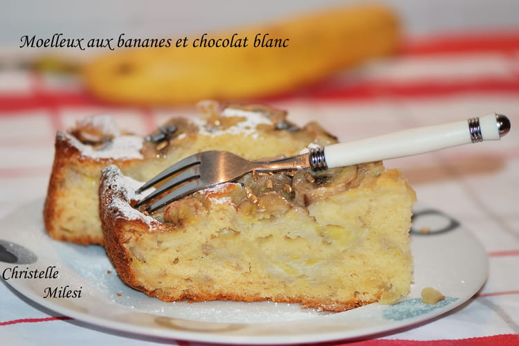 Gâteau à la banane et chocolat blanc moelleux