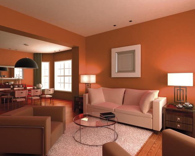 Un salon orange contemporain