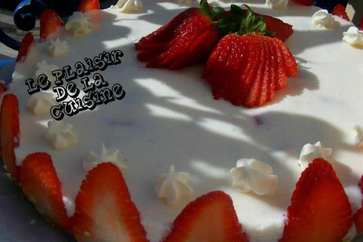 Cheesecake aux fraises, petits suisses et petits-beurre