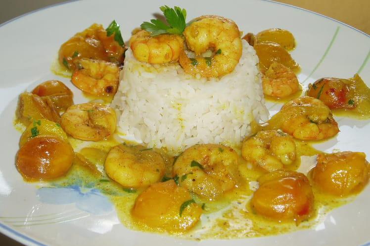 Crevettes aux mirabelles et au curry