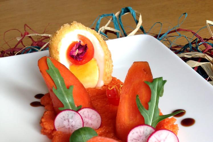 Oeuf mollet frit et son duo de carottes