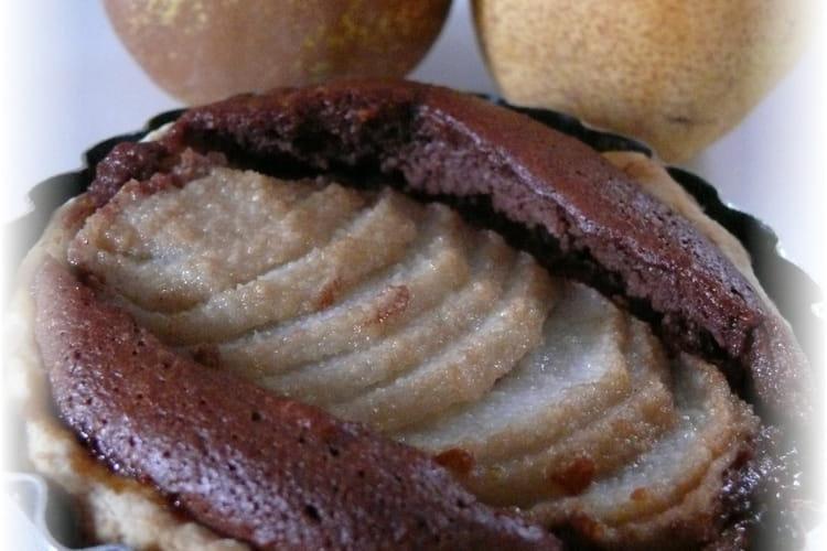 Tarte aux poires sur frangipane au chocolat