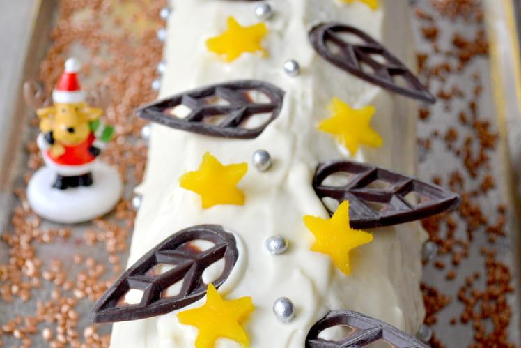 Bûche au chocolat noir, mangues et chocolat blanc