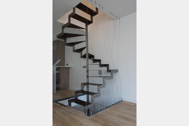 Un escalier sculptural et aérien