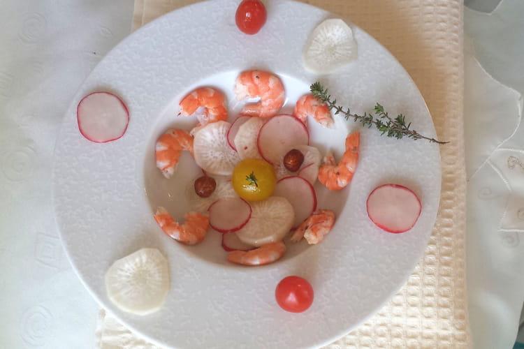Salade aux 2 radis, crevettes, thym et noisettes