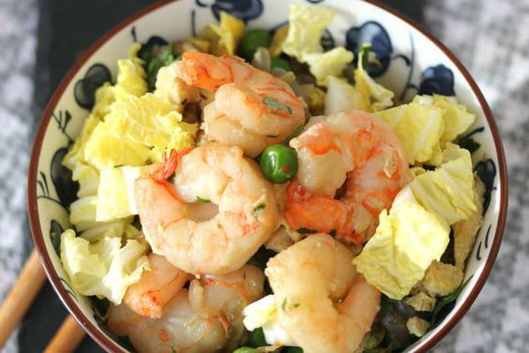 Wok de chou chinois et crevettes