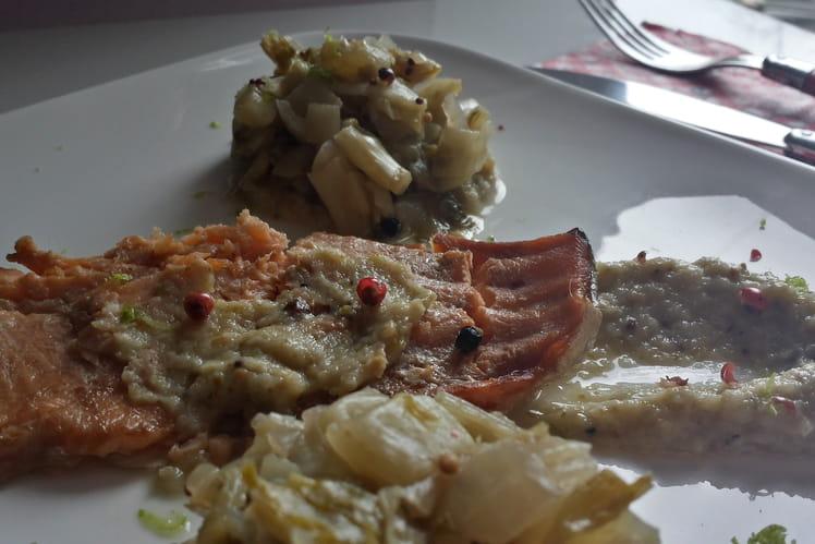 Truite marinée, crème d' endives et fondue d' endives