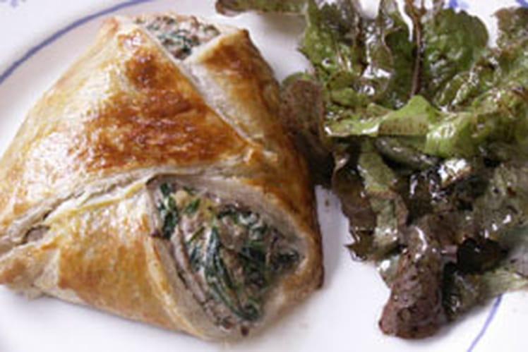 Chausson feuilleté épinards, ricotta, bœuf