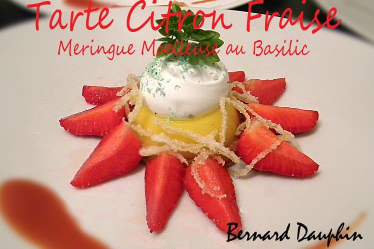 Tarte citron fraise, meringue moelleuse au basilic