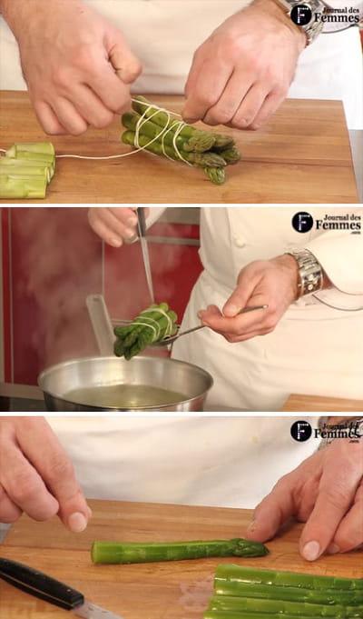 préparation des grosses asperges vertes