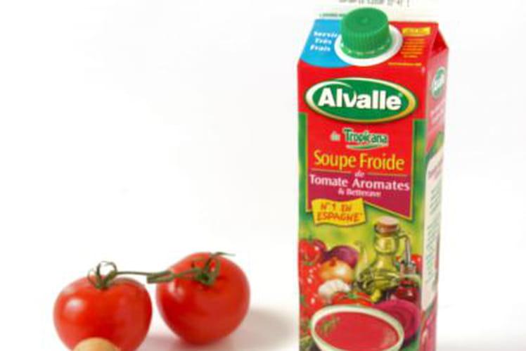 Ma Soupe Froide de Tomate Aromates & Betterave Alvalle et ses choux feuilletés au pesto rouge et chorizo
