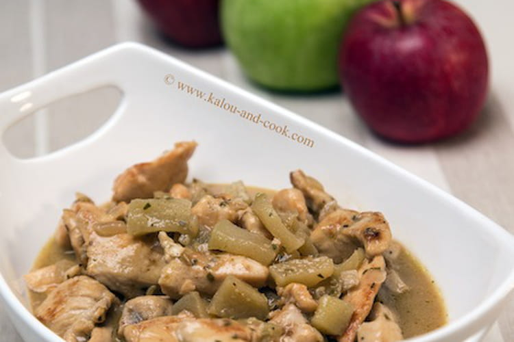 Emincé de poulet au cidre et à la pomme