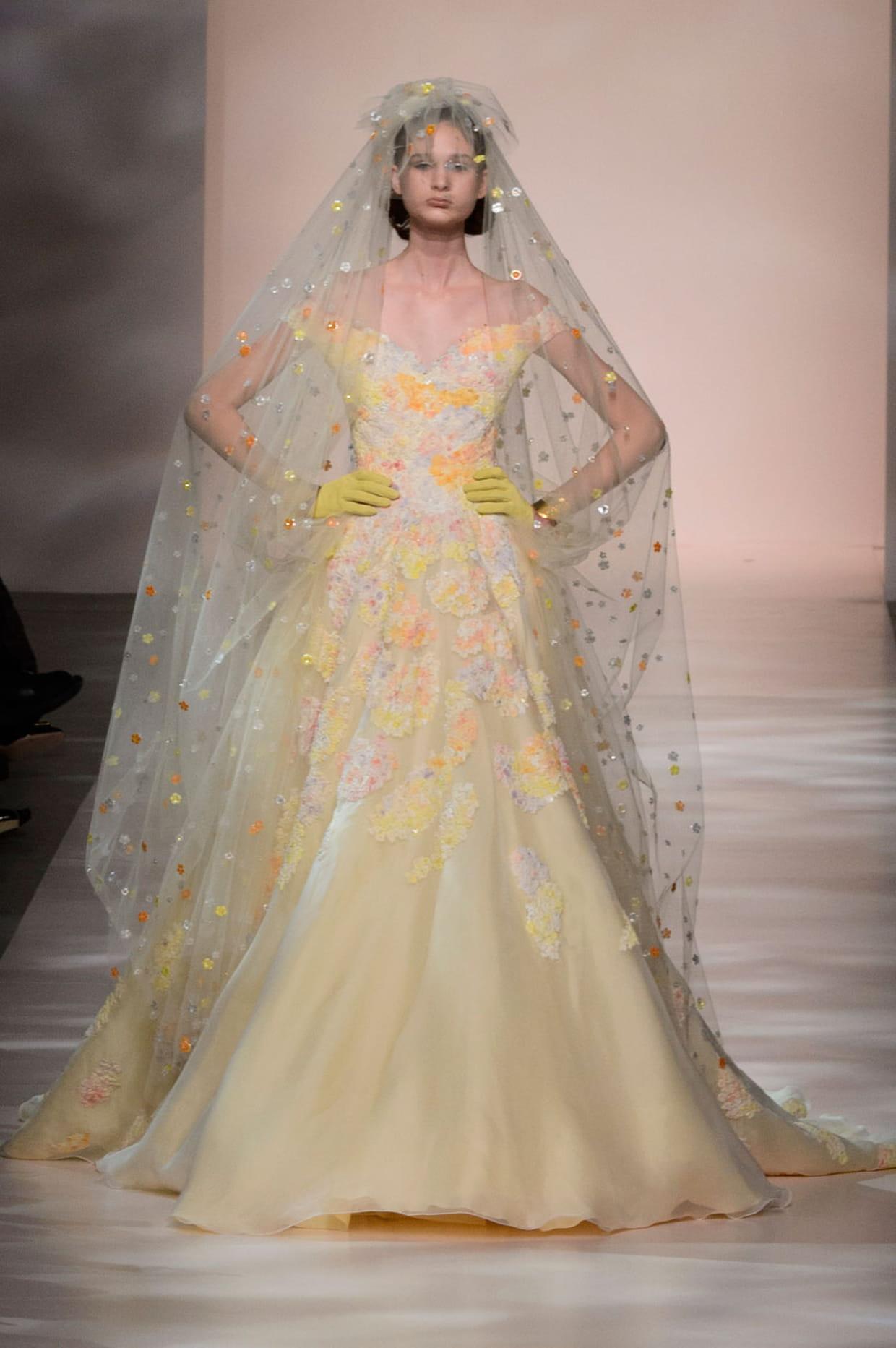Robe de mari e george chakra pastel fleuri for Prix de robe de mariage en or georges chakra