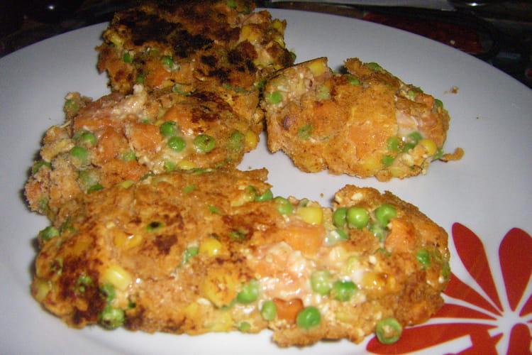Croquettes de poulet aux légumes et ketchup