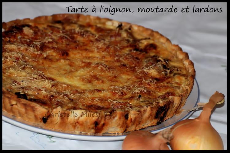 Recette De Tarte A L Oignon Moutarde Et Lardons La Recette Facile