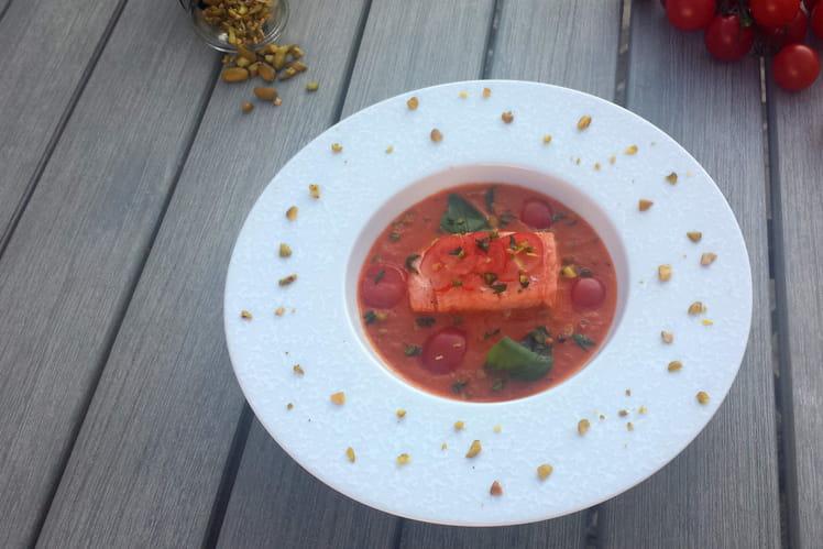 Crème de tomates cerises confites aux herbes, saumon rosé et pistaches croquantes