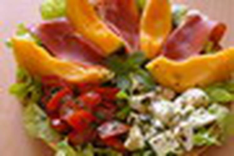 Salade au melon, jambon cru et mozzarellla