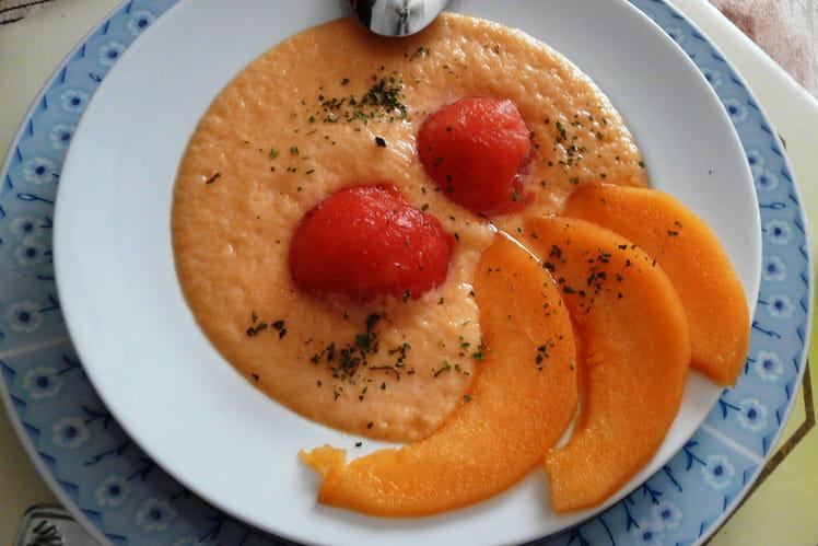 Soupe froide melon-pastèque