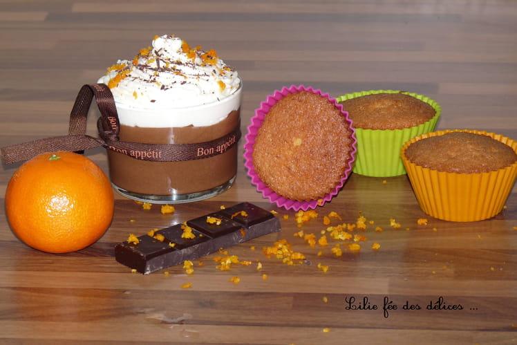 Mousse chocolat clémentine, chantilly à la fleur d'oranger
