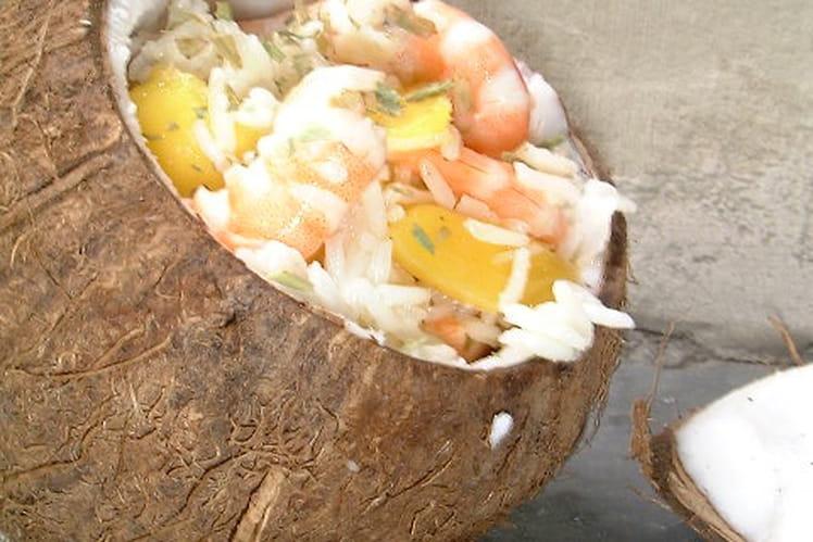 Salade noix de coco et crevettes