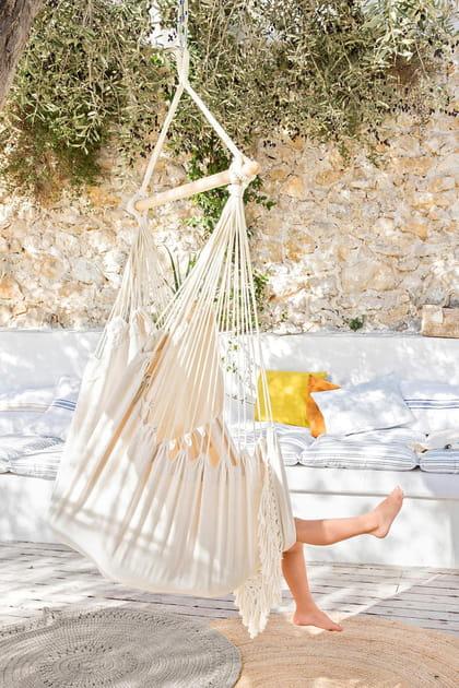 Chaise hamac en bois et coton
