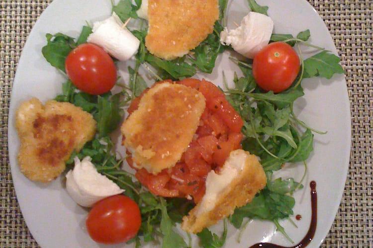 Tartare de tomates et son duo de mozzarella