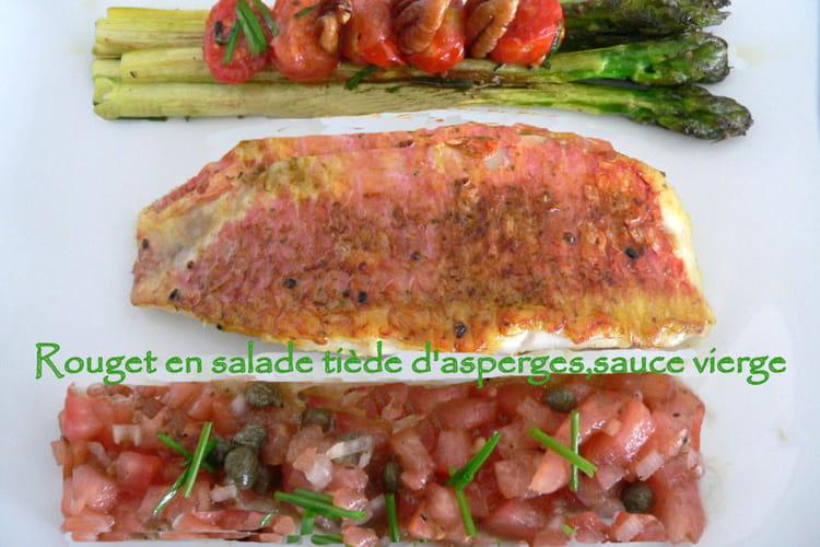 Rouget en salade tiède d'asperges vertes