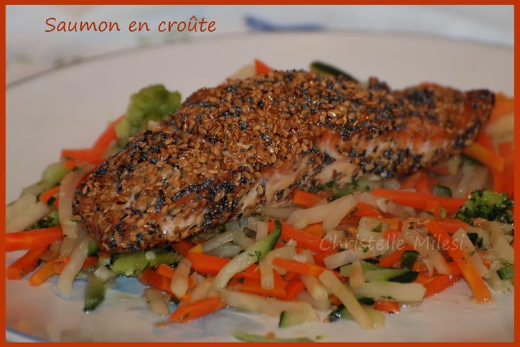 Saumon en croûte de graines et sauce soja