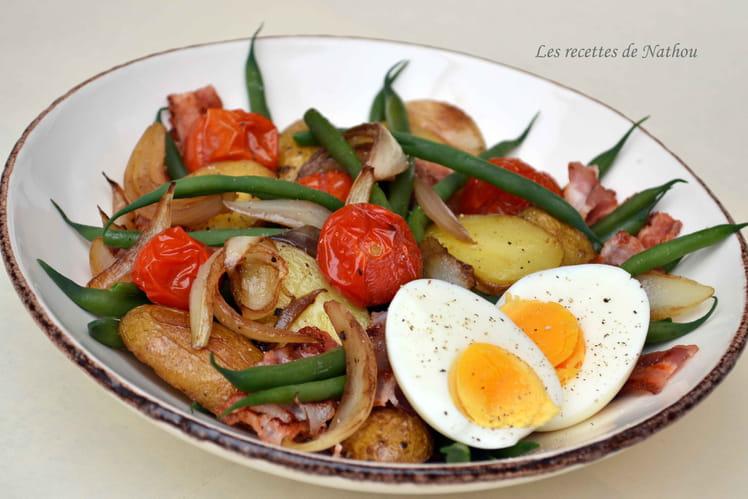 Salade liégeoise tomates cerise, oignons et haricots verts revue à ma mode