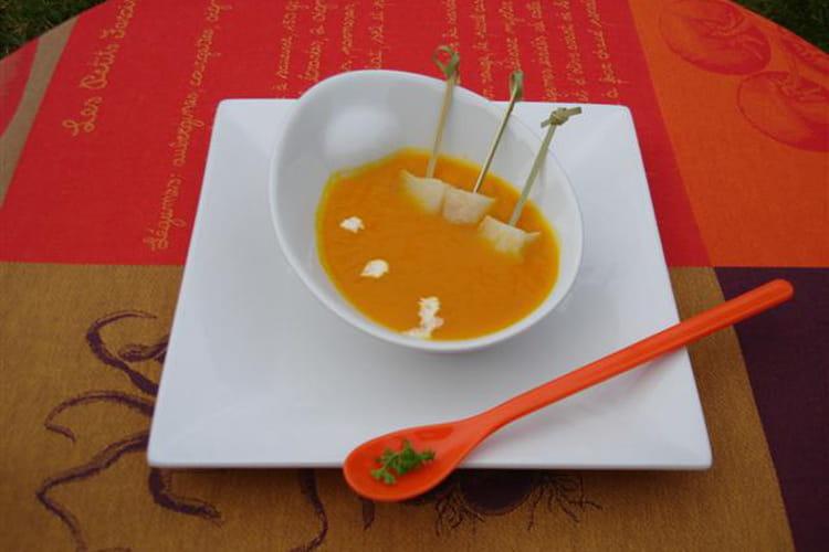 Soupe de potimarron, lardons et flétan noir fumé
