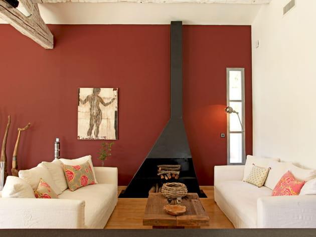 Mur ocre pour salon chaleureux - Deco salon couleur chaude ...