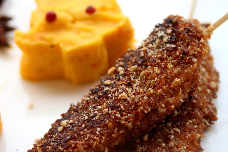 Aiguillettes de canard en croûte de noisettes et crêpes dentelles