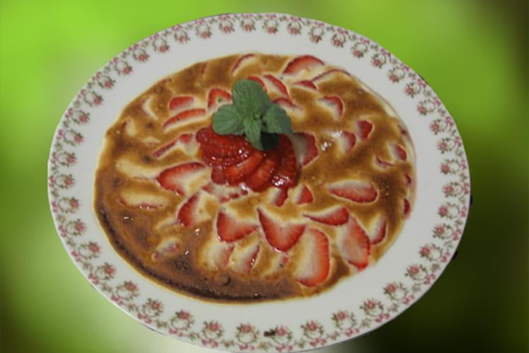 Gratin de fraises, sabayon au citron et au basilic