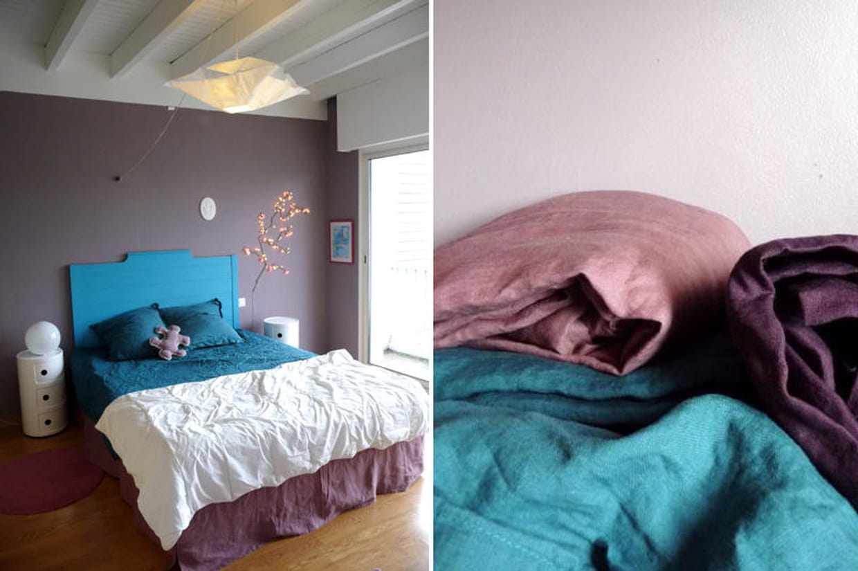 mauve turquoise et lin dans la chambre. Black Bedroom Furniture Sets. Home Design Ideas