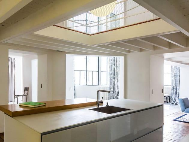 Duplex avec un puits de lumière