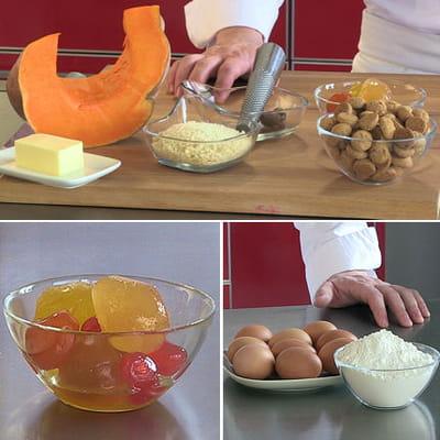 ingrédients des tortelli au potiron, parmesan, mostarda et amaretti