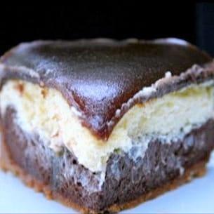 cheesecake deux chocolats, miroir caramel