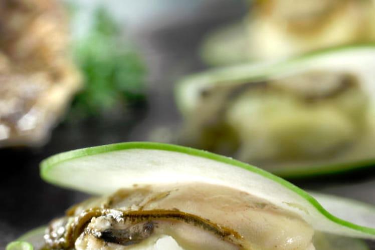 Ravioles aux pommes Granny Smith, huîtres et céleri rave