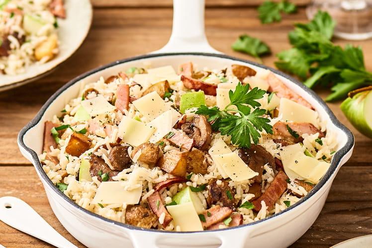 Recette de po l e de riz au r ti de porc pomme et champignons for Idee plat pour recevoir des amis