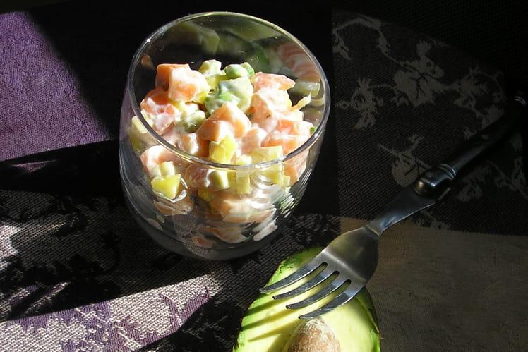 Verrines de tartare de saumon/mangue/avocat