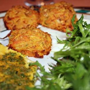 croquettes bio carottes, choux de bruxelles au petit épeautre