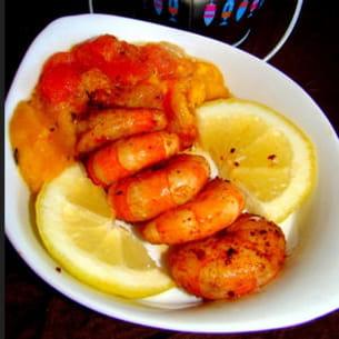 crevettes citron-gingembre et salsa de mangue