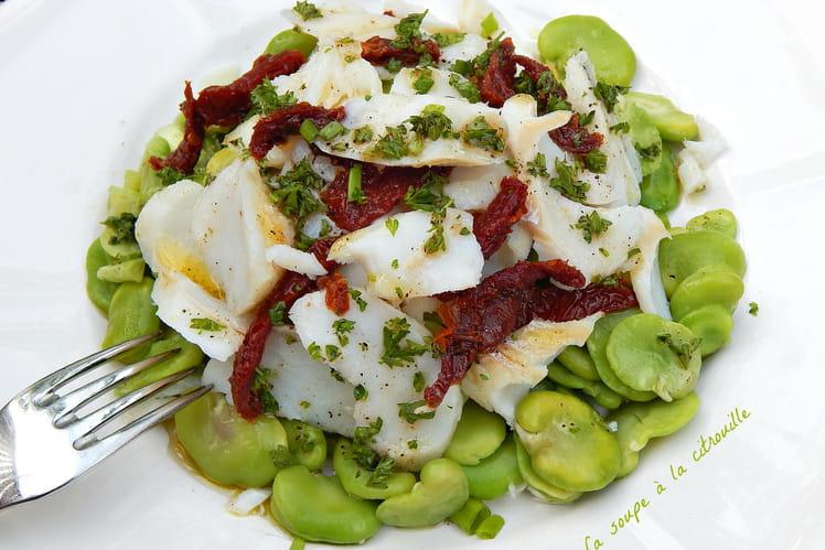 Salade de fèves et morue, vinaigrette aux cébettes