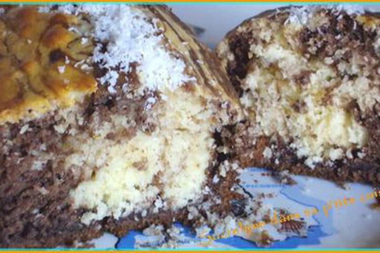 Gâteau au yaourt marbré chocolat et noix de coco