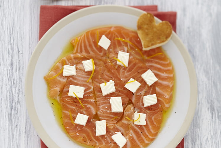 Carpaccio saumon au Caprice des Dieux à l'orange
