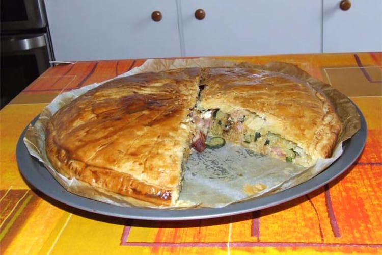 Tourte aux courgettes, lardons et fromage de chèvre