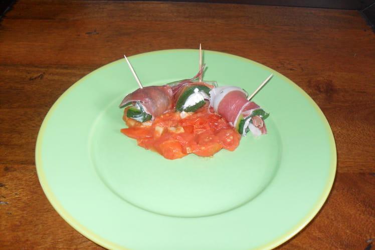 Rouleau de courgettes au jambon et tartare
