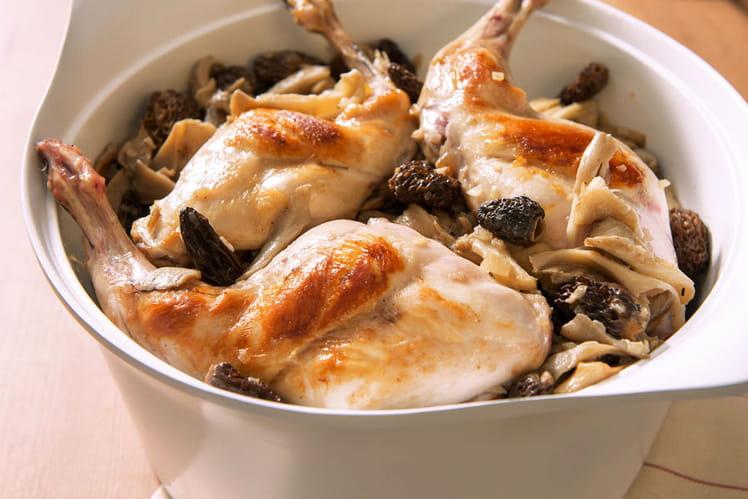 Cuisses de lapin NA® au vin jaune safrané, fricassée de champignons