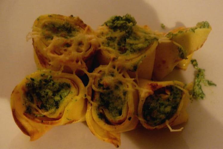 Crêpes aux épinards et trois fromages italiens