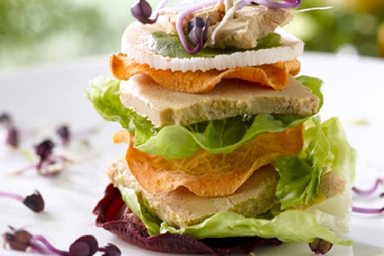 Club Sandwich au foie gras et fraîcheur potagère
